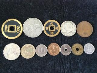 日本の硬貨と外国の硬貨