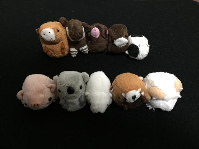 お手玉ぬいぐるみ カワウソ、オカピ、もぐら、馬、牛、 豚、コアラ、白クマ、レッサーパンダ、羊