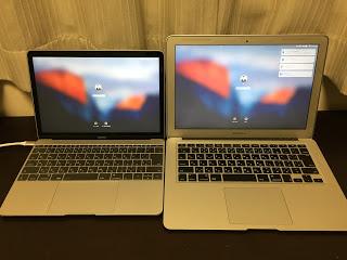 Macbook12インチとAirの画面比較