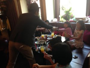 Birthday party for children in the karaoke
