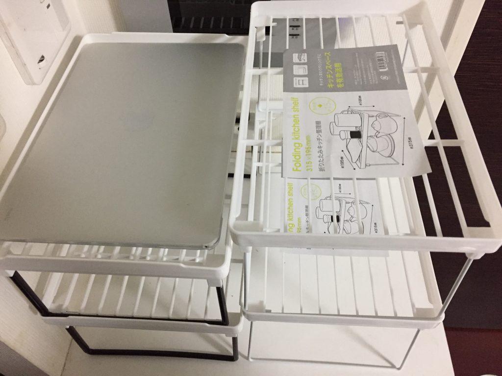 折りたたみキッチン整理棚とキッチンスタンド(ミドル)2
