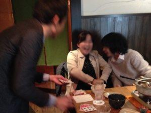 新年会でテーブルホッピングマジシャン出張、派遣マジックショー