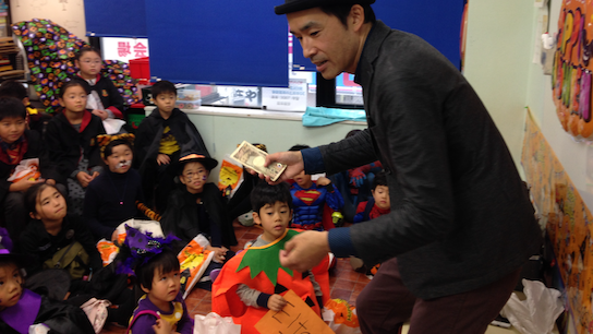 Magic show at Halloween event for children
