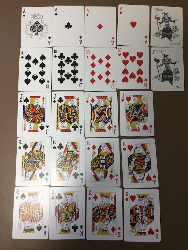 ダイソーの本格プレイングカード サーカス レビュー / DAISO Playing Cards CIRCUS Review ロイヤルストレートフラッシュとジョーカー