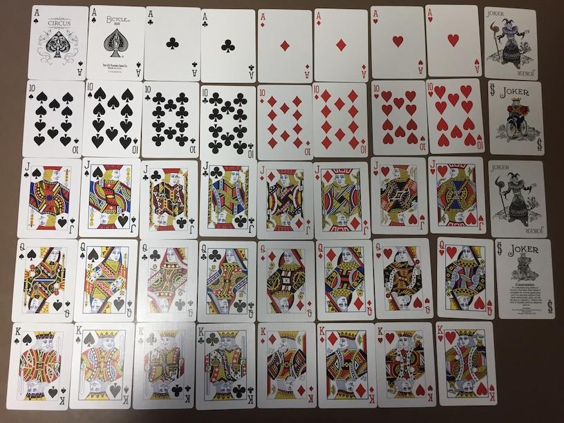 ダイソーの本格プレイングカード サーカス ロイヤルストレートフラッシュバイシクルと比較