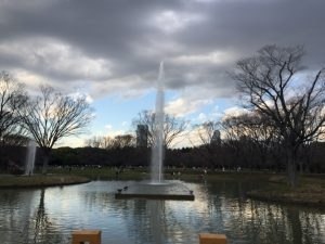 代々木公園の噴水 雨
