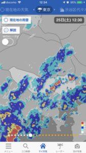 時たま強い雨が降ってました。