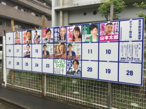投票所前の選挙ポスター