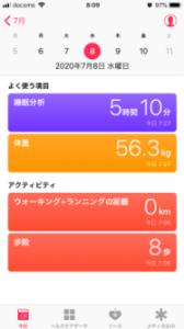 ヘルスケアアプリ 今日の表示画面