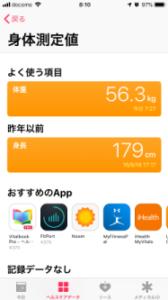 ヘルスケアアプリのヘルスケアデータ画面