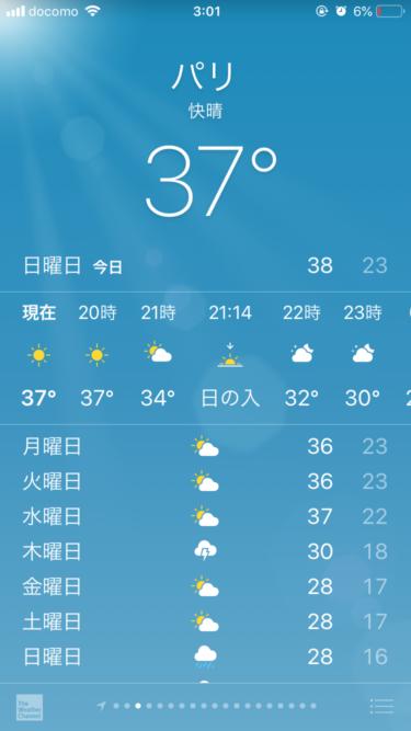 8/10のパリの気温は37℃を超える