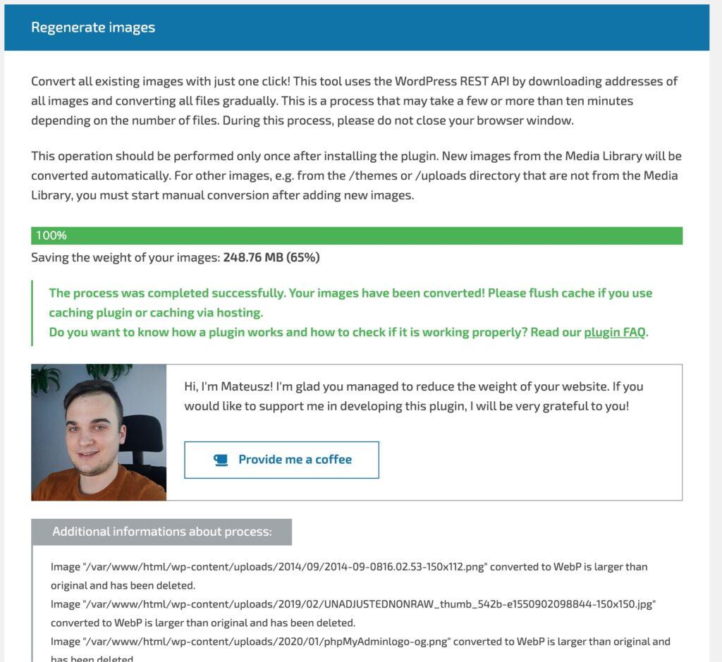 開発者にコーヒーを奢る 画像をWebPに変換してPageSpeed Insightsの結果を改善させる WebP Converter for Mediaを使用