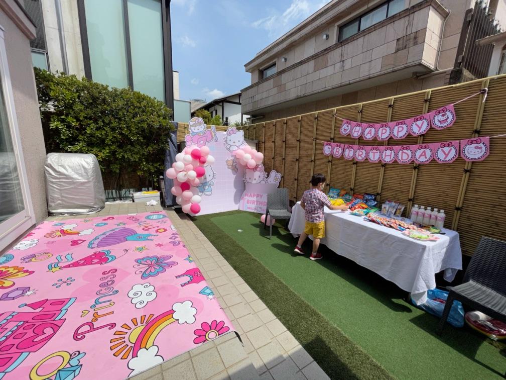 お誕生日会会場お庭 7thバースデーパーティーに出張マジシャンマジックショー東京都渋谷区